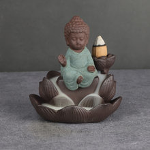 The new creative little monk backflow incense burner small Tathagata ceramic incense burner 0rnaments purple sand incense burner