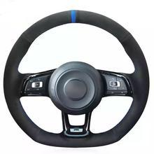 цена на Hand Sew Car Steering Wheel Cover for VW Golf 7 GTI Golf R MK7 Polo Scirocco