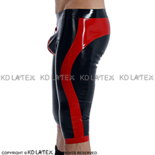 Black And Red Sexy Long Leg Latex Boxer Shorts With Zipper At Front Trims Underwear Rubber BoyShorts Bottoms DK-0174