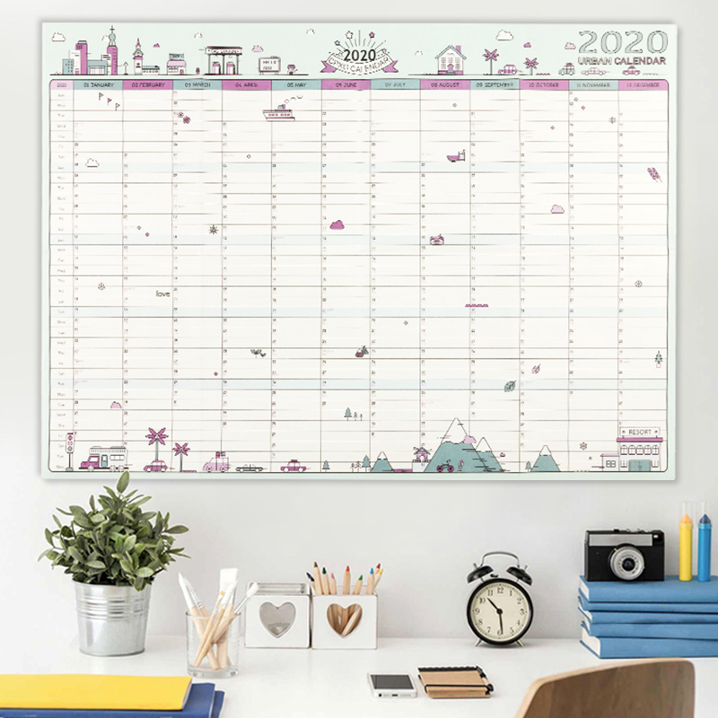 2020 Block Year Planner Daily Plan Paper Wall Calendar  EVA Mark Stickers For Office School Home Agenda Escolar New
