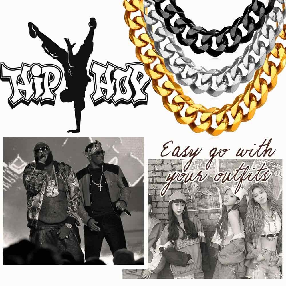 U7 Cuba Liên Kết Dây Chuyền Nam Vàng Màu Thép không gỉ Dài/Choker Lớn Chun Tối Giản Rapper Dây Chuyền Hiphop Trang Sức n001