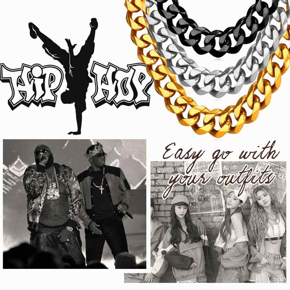 U7 Kuba Link Rantai Pria Warna Emas Stainless Steel Panjang/Kalung Besar Chunky Minimalis Rapper Rantai Kalung Hip Hop Perhiasan n001