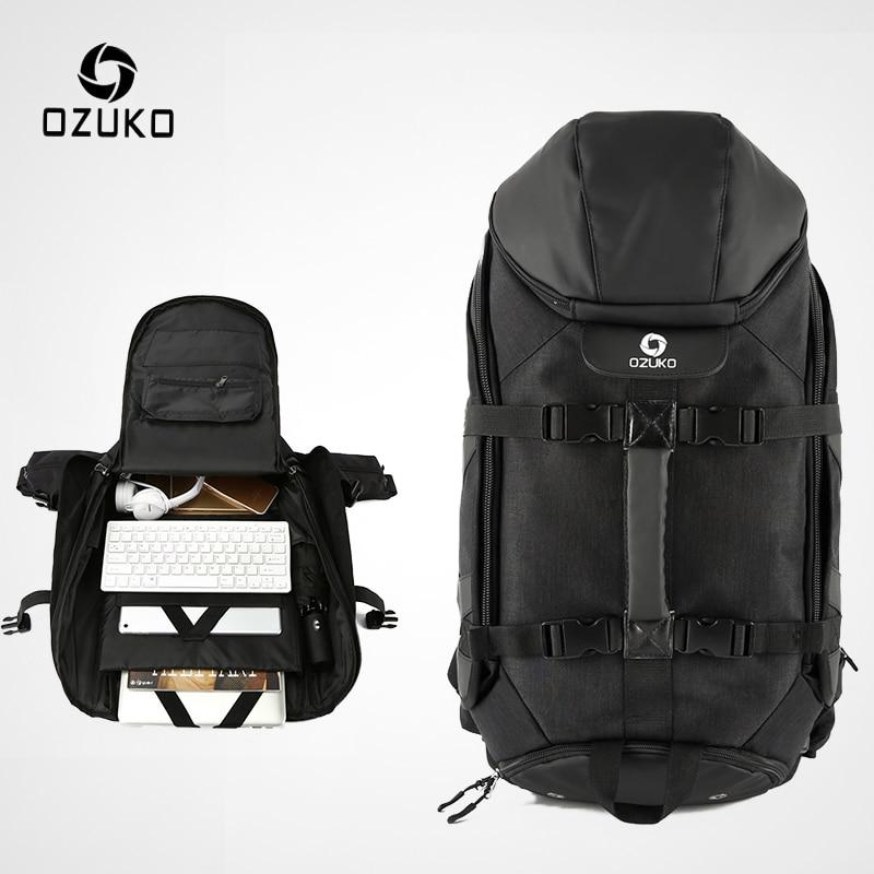 OZUKO New Men Travel Backpack Large Capacity 17 Inch Laptop Bag Male Multifunction Mountaineering Backpacks Outdoor Sport Bag