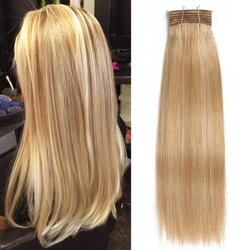 Joedir Hair Double Drawn Brazilian Remy Human Hair Bundles Yaki Straight Hair Weave Color #P6/613 Piano Colors Blonde Bundles