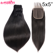 Lace Closure Bundles Human-Hair Straight Brazilian 5x5 with Remy-West High-Ratio