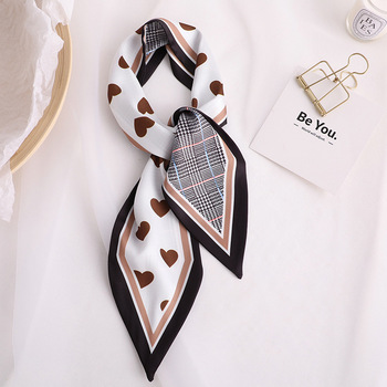 2020 Designer Skinny Scarf Love Print Women Silk Scarf Small Handle Bag Ribbons Female Head Scarves Wrap For Lady flamingo print skinny scarf