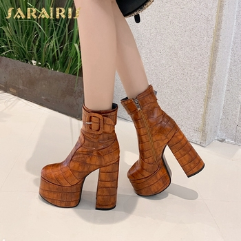Sarairis 2020 New Fashion Big Size 43 High Quality Thick High Heels Shoes Woman Boots Female Platform Zip Up Ankle Boots Women