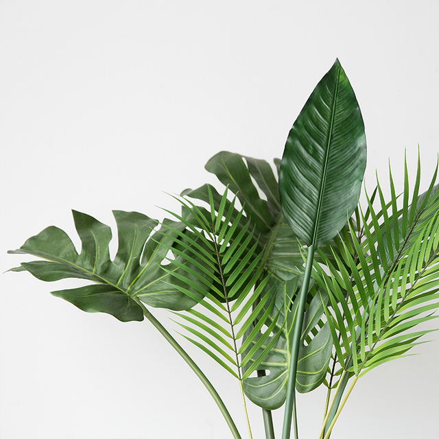 One Piece monstera artificial plants plastic tropical palm tree leaves home garden decoration accessories Photography Decorative 4
