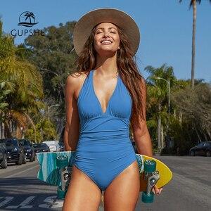 Image 1 - Cupshe Solid Blue Shirring One piece Swimsuit Women Sexy Halter V neck Plain Monokini 2020 Summer Female Beach New Swimwear