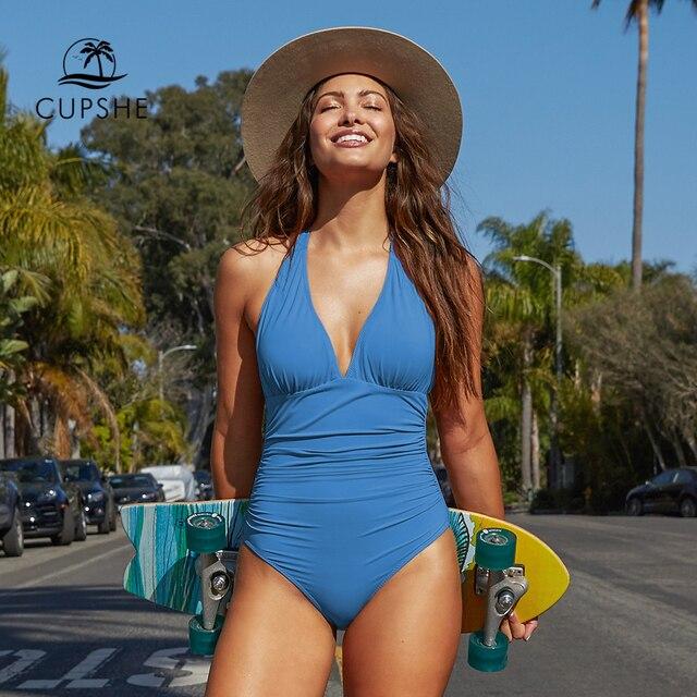 Cupshe Solid Blue Shirring One piece Swimsuit Women Sexy Halter V neck Plain Monokini 2020 Summer Female Beach New Swimwear