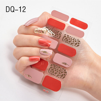 14pcs/sheet Glitter Gradient Color Nail Stickers Nail Wraps Full Cover Nail Polish Sticker DIY Self-Adhesive Nail Art Decoration 109