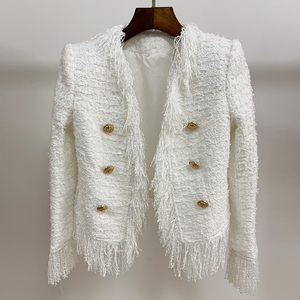 Image 2 - HIGH QUALITY Newest 2020 Fall Winter Designer Jacket Womens Lion Buttons Tassel Tweed Fringed Jacket Coat