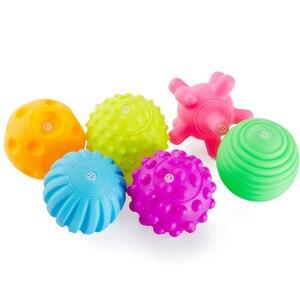 Image 5 - 6 ピース/セットベビー質感のタッチ手のおもちゃ幼児トレーニングマッサージソフトゴムおしゃぶりボール触覚ピンチバスストレスボール