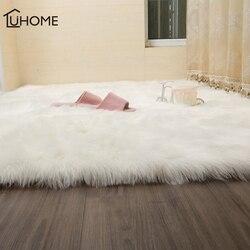 Luxo peludo tapetes pele de carneiro pele lisa macio quarto tapetes do falso lavável área têxtil artificial tapetes quadrados decoração da sua casa