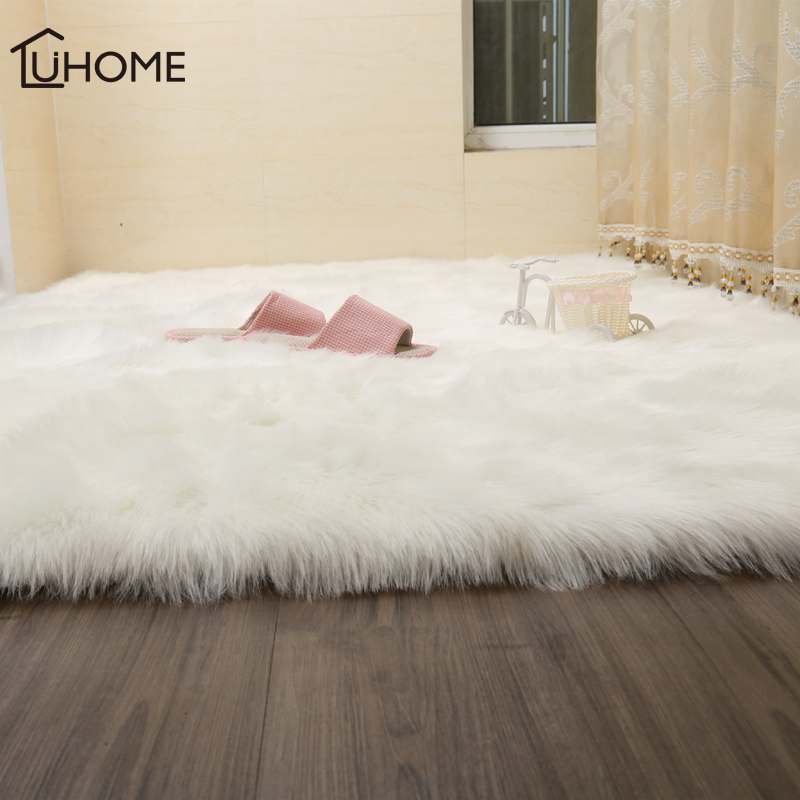 Luxury Hairy Carpets Sheepskin Plain Fur Skin Fluffy Bedroom Faux Mats Washable Artificial Textile Area Square Rugs Home Decor