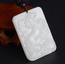 Natural White Hand-carved Chinese Hetian Jade Horse Pendant + Rope Necklace natural green hand carved chinese hetian stone guanyin pendant rope necklace