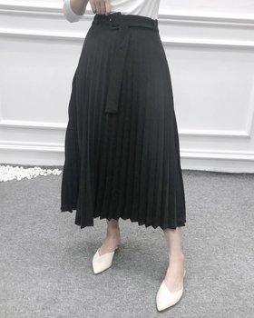 New Women fashion belt solid color pleated midi skirt faldas mujer ladies side zipper vestidos retro casual slim skirts QUN481 5