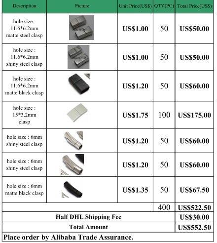 가방에 스테인레스 스틸 clasps 주문 (총 400 pcs, dhl에 의해 보내)-에서보석 재료 & 부속품부터 쥬얼리 및 액세서리 의  그룹 1