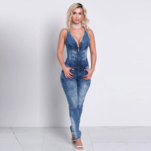 2019 New Deep V-neck Sexy Sleeveless Zipper Jeans Bodysuit Cotton Woman Denim Jumpsuits