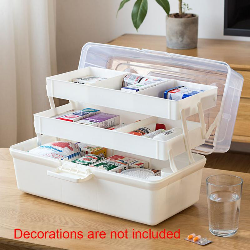 Multi Layer Medicine Storage Pill Holder Makeup Camping Emergency Home Organizer Container Large Cabinet Family First Aid Box#63