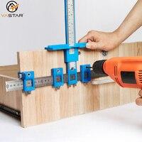 Localizador de perforación multifuncional para muebles, regla de guía de taladro, localizador de agujeros para carpintería, herramienta posicionadora de perforación ajustable