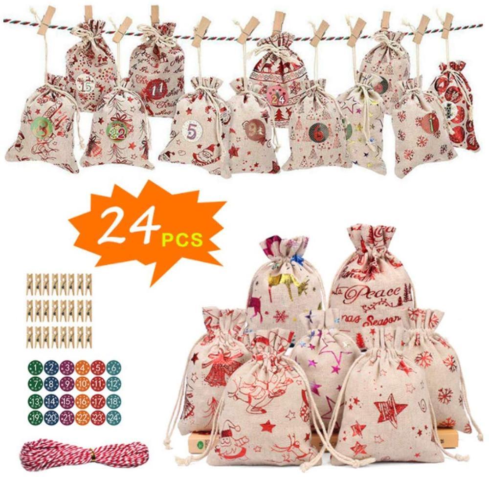 76pcs Christmas Gift Bags Calendar Countdown Jute Bag Candy Storage Pouch DIY Christmas Advent Calendar Bag Calendrier Avent