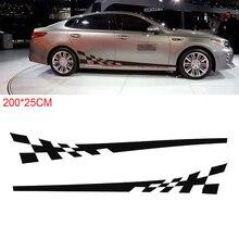 2pcs/pair 200 x 25CM PVC Black Striped Grid Pattern Creative Refit Car Racing Side Body Sticker