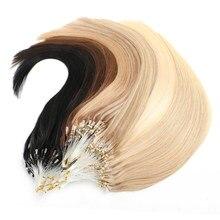 MRSHAIR Micro anneau Extensions de cheveux 1g/support 50 brins non remy blond brun Micro perle boucle Extension de cheveux humains 14 18 20 24 pouces