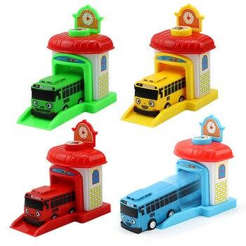 Modelo a escala Tayo el autobús niños miniatura autobús de plástico bebé Oyuncak garaje Bus Tayo juguetes de regalo de Navidad para los niños