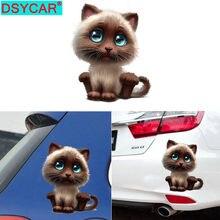 DSYCAR 2 pièces/lot mignon chat voiture autocollant animaux Stickers muraux mur salon chambre salle de bains/toilette/réfrigérateur/voiture/cuisine