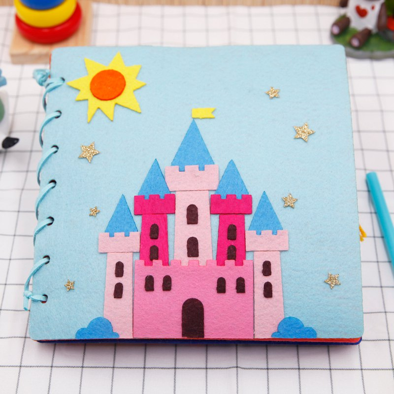 FBIL-Handmade Baby Quiet Book 20X20Cm Children Diy Toys Early Education Education Easy To Sew Felt Diy Material Package Castle S
