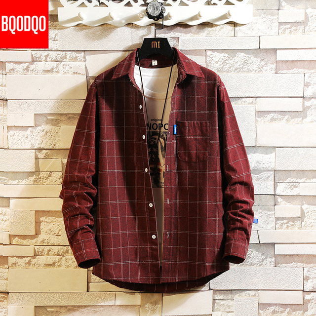 Streetwear Japanese Korean Social Shirts Men Red Winter Brand Cotton Blouses Male Fashion Autumn Long Sleeve Plaid Casual Shirt