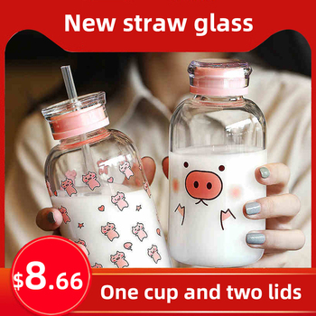 Creative Pig Water Cup Glass Bottles Kawaii Water Bottle Eco Friendly Glass with a Straw Glasses Cute My Bottle Cups Waterbottle fashion glass frosted cup couple water cup waterbottle water bottle cute water bottle glass glass drinking set water jug