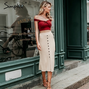 Image 4 - Simplee Autumn knitted women skirts Vintage A line buttons solid midi skirts Elegant ladies bodycon stretch pencil office skirts