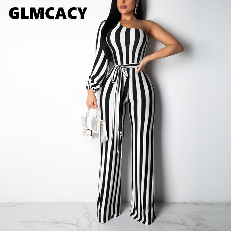 Women Spring Sexy 2019 Summer Striped Elegant Office Lady Wide Leg Long Jumpsuits One Shoulder Long Sleeve Jumpsuits Overalls