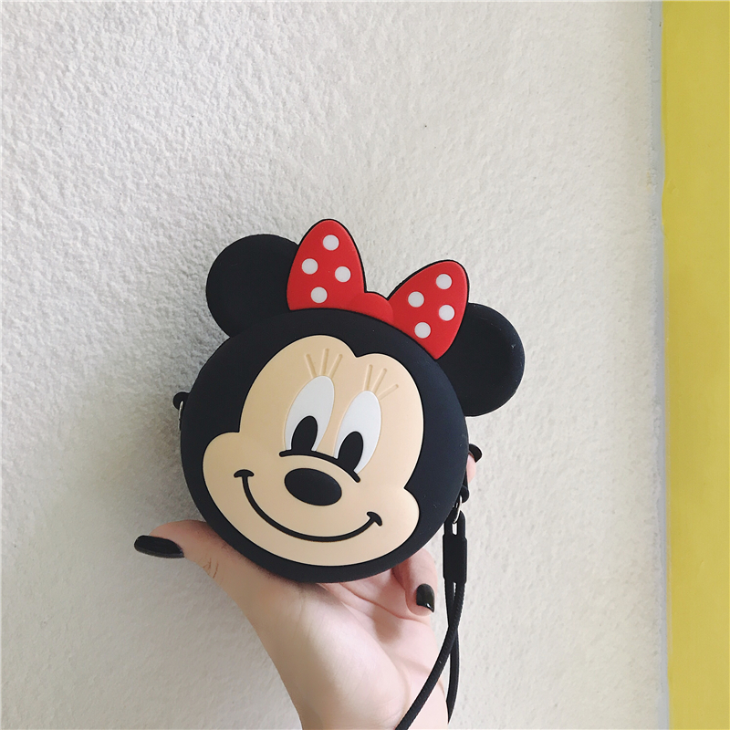 Anime Minnie Wallet Cartoon Silica Gel Mini Purses Coins Pouch Money Wallet Card Key Bags Coin Storage Earphone Box Kids Gifts