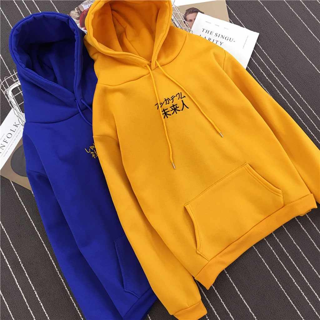 Women Loose Casual Printed hoodies sweatshirTops Long Sleeve Spring Autumn Girl Solid color sweatshirt Jumper sudadera mujer