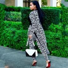 2 חתיכה להגדיר אפריקאי הדפסת אלסטי Bazin בבאגי מכנסיים רוק סגנון דאשיקי שרוול מפורסם חליפת לנשים מעיל וחותלות 2pcs/se
