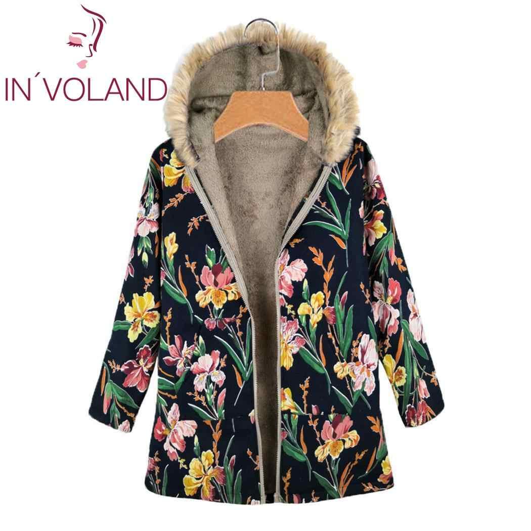 IN'VOLAND Mode Mit Kapuze Mäntel Frauen Plus Größe 5XL Verdicken A-linie Saum Zipper Langarm Floral Print Winter Weibliche Outwear Mantel