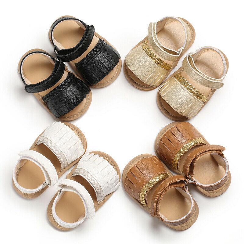 Newborn Baby Summer Sandals Tassel Soft Sole Crib Shoes Kids Anti-slip Prewalker 0-18M Baby Shoes Summer Girls Sandals