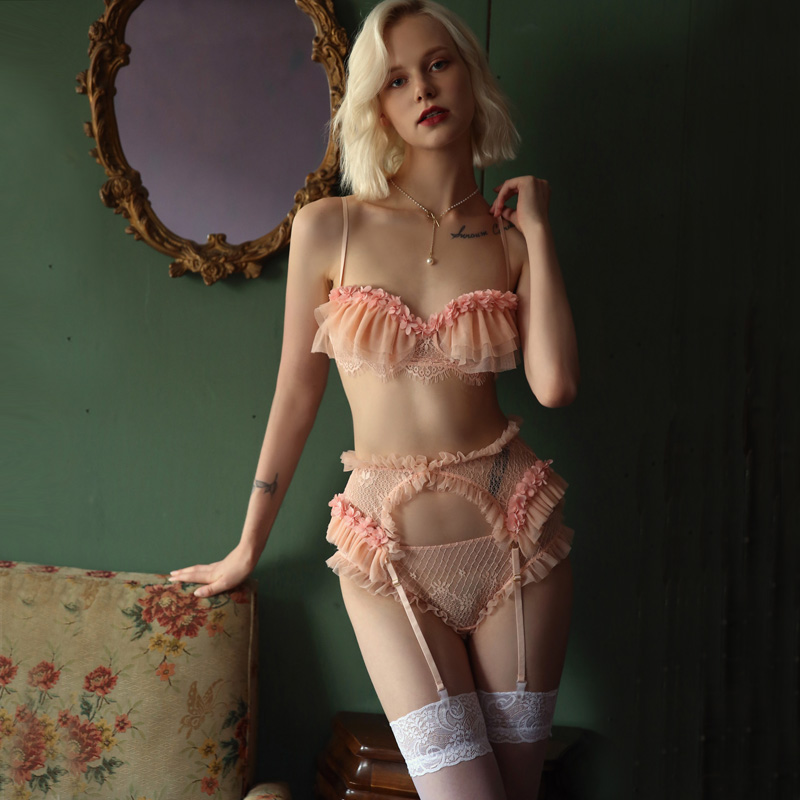 French Sexy Lingerie Lace Ruffles Wire Free Bra and Panty with Garter Underwear Set Temptation See Through Ultra Thin Bra SetBra & Brief Sets   -