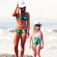 Fashion Mother Daughter Matching Girl Womens Sleeveless Palm Leaves Print Swimwear +Children Hat Swimsuit Bikini Set girls baby girl palm print swimsuit with hat