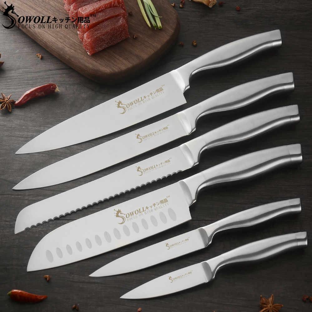 Sowoll noże ze stali nierdzewnej 9 sztuk zestaw pełna Tang nóż ostrza torba podnośniki 7 ''siekanie tasak nóż piesze wycieczki narzędzia kempingowe