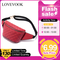 [FLASH SALE] LOVEVOOK fanny pack women waist bag female belt bag for girls small purse waist pack ladies plaid school bum bags