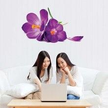 Романтические фиолетовые цветы наклейки на стену для гостиной