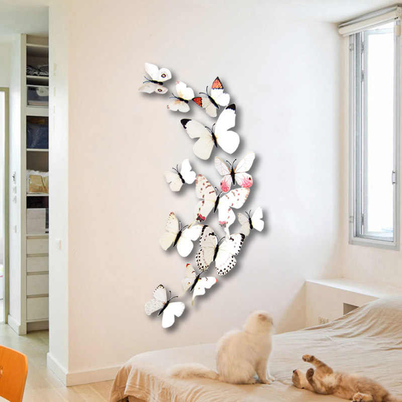 12 Pcs 3D Cute Magnet Butterfly Wall Sticker PVC Beautiful Art Wall Stickers Art Decals Fridge stickers Home Decoration Room