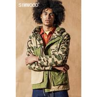 SIMWOOD 2019 camouflage hooded field jacket men autumn winter new multi pocket jackets Military contrast paneled Coats 190473