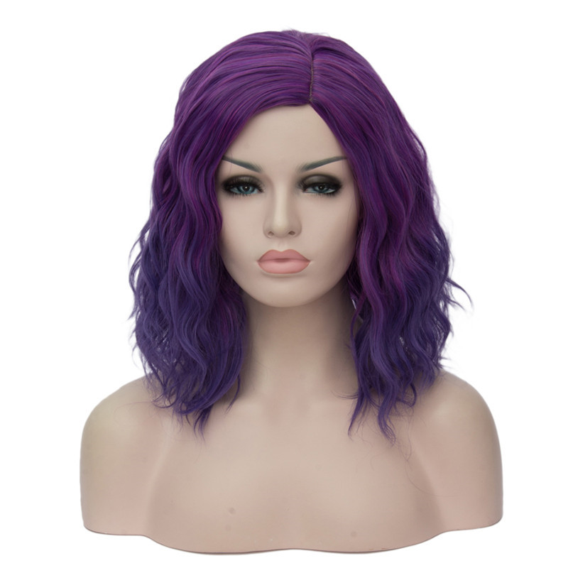 MSIWIGS Woman Purple 22 Colors Cosplay Wig Short Wavy Synthetic Heat Resistant Hair Pink Blonde Ombre Cos Wig