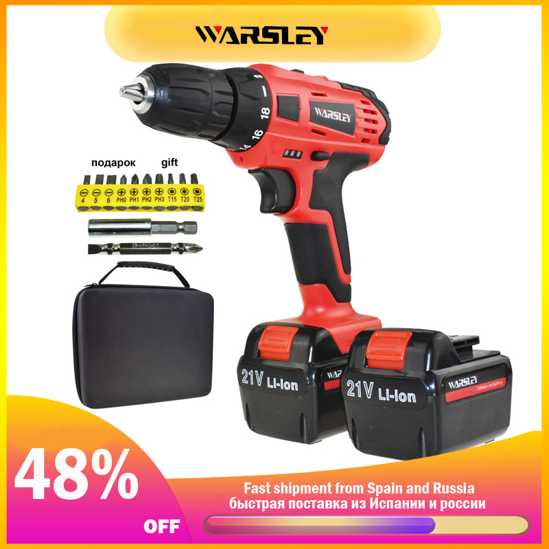 21V Power Tools Electric Drill Cordless Drill Battery Drill Electric Screwdriver Li-ion Batteries Mini Electric Drilling Eu Plug