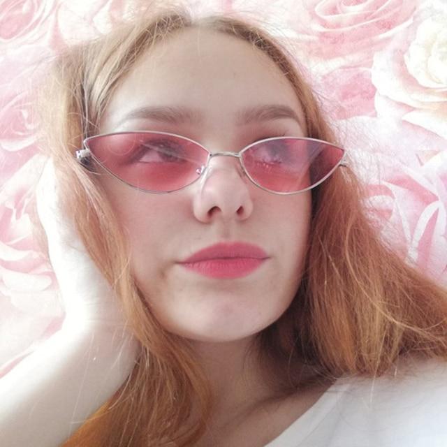 KUJUNY Women Cat Eye Sunglasses Cute Sexy Brand Designer Glasses Summer Retro Small Frame Black Red Cateye Sun Glasses 10